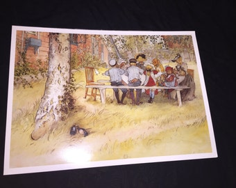 1990's Carl Larsson Breakfast Under the Tall Birch Poster