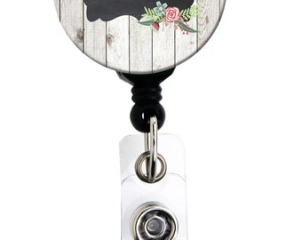 Retractable Badge Reel - Picket Fence Chalkboard - Personalized Name Badge Holder, Carabiner, Lanyard or Steth Tag