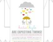 File Twins Baby Shower Invitation, Modern Twins Baby Invite, Umbrella hearts, Retro twins baby invite, Boy twins shower invite, Girl Twins i