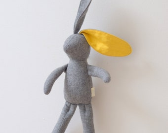 Small grey Bunny stuffed Rabbit doll baby toddler Vintage wool Grey Bright Yellow linen unique nursery decor upcycled eco toy  bubynoa Bunny