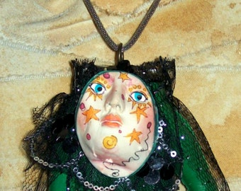 Wear If You Dare Found Object Macabre Unusual Original Hand Necklace Mystical Novelty Altered Mixed Media Jewellry Bold
