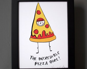 Pizza Girl print, pizza print, pizza poster