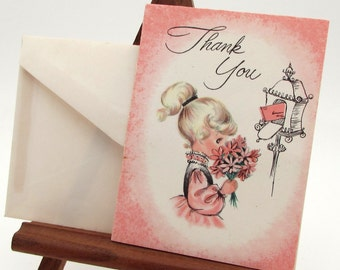 Vintage Greeting Card - mini Thank You card - blonde girl - mail box - flowers - vintage note card