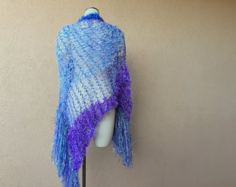 Light Weight Shawl Blue and Purple Wrap Shawl Wrap Lace Shawl in Lightweight Lavender and Royal Blue Same Design as Stevie Nicks Shawl