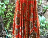 SALE was 26.00 Indonesian rayon peasant dress sun dress sundress rust red tan floral smock dress medium