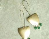 Golden Brass Geometric Earrings, Beaded Chandelier Earrings, Green Quartz