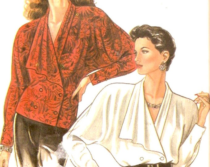 High fashion tops draped 80s style blouse vintage sewing pattern New Look 6059 Size 8 to 18 Uncut