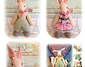 1950s's vintage toy bunny rabbit pattern / pdf / digitel/ download/ sewing pattern