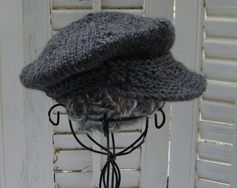 Gray Newsboy Hat for Newborn Baby Boy READY to SHIP Wool Toddler Photo Prop