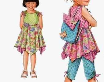 Daisy Kingdom Girl's Dress, Top, Capri Pants & Backpack Simplicity 2716 Size 3-8 UNCUT