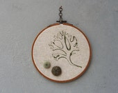 Sea Urchins and Seaweed Tango Embroidered Hoop Wall Hanging