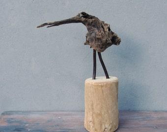 Driftwood Art Bird, Driftwood, Copper and Evil Eyes Driftwood sculpture statue