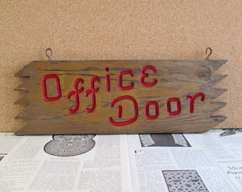 Vintage Wooden Office Door Hanging Sign