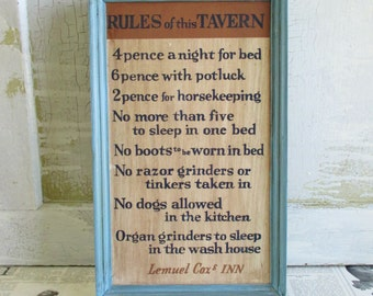 Vintage Wooden Rules of This Tavern Sign