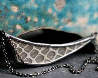 real snakeskin necklace asymmetrical necklace modern statement necklace rocker necklace gunmetal necklace boho jewelry SNAKESKIN DART