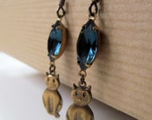 RESERVED Kitty Cat Blue Crystal Niobium Earrings - Meow