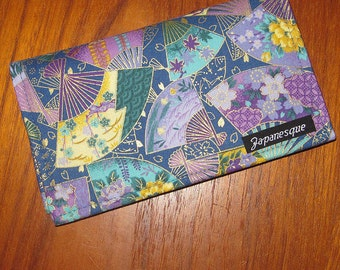 Checkbook Cover Japanese Asian Fabric Fans Design Purples