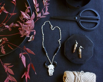 Cow Skull Necklace, Cow Skull Jewelry, Cow Skull Pendant, Carved Bone, Skull Necklace, Southwestern, Boho Jewelry, Silver Chain Necklace,