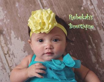 Yellow Baby Headband, infant headbands, Newborn headband, Yellow hair bow, hair bows for girls, handsewn, handmade hair bows, flower hairbow