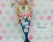Mermaid ornament adornment Sparkle & Pink Roses