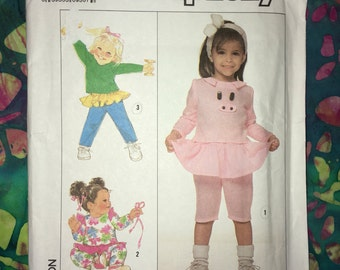 Clearance Uncut Vintage Simplicty Pattern No. 9276 - Toddler Knit Top & Pull-on Pants/Capris with Attached Skirt - Sizes 6M, 12M, 2T, 3T