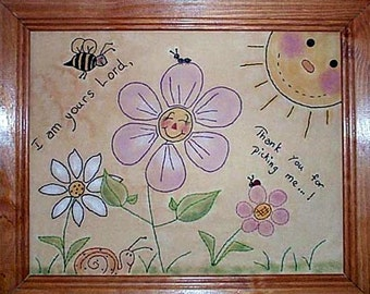 Flower Stitchery Pattern, Downloadable Stitchery Pattern, Primitive Stitchery Embroidery Pattern, E-Pattern, Christian Pattern, Pick Me