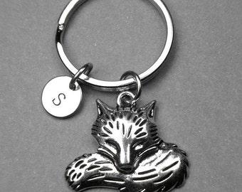 Fox keychain, Fox charm, Personalized keychain, initial keychain, initial charm, hand stamped initial, monogram letter, letter keychain