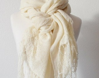 Gossamer Woven Wrap In Natural White - Handmade Handwoven Tatterpunk Morigirl Boho Fashion Scarf in Luxury Silk/Wool