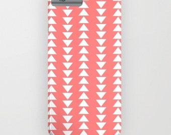 iphone case- Samsung phone cover- peach-pink-white-geometric- triangles- modern minimalist iphone case