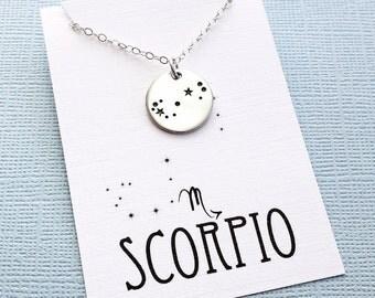 Scorpio Jewelry   Scorpio Necklace, Zodiac Jewelry, Zodiac Necklace, Constellation Necklace, Astrology Jewelry, Zodiac Sign Necklace, Zodiac