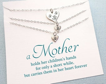 Twins Mother Daughter Necklace | Handprint Necklace Set, Mother Daughter Jewelry, Gift for Daughter, Mommy and Me, Daughter Gift | MD05