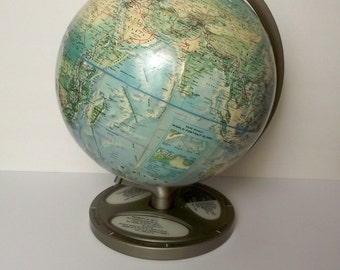 1960's Rand McNally World Portrait Globe on Stand with Fun Fact Base