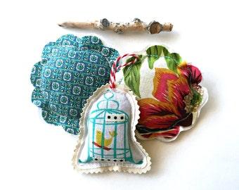 3 lavender sachets, lavender sachet trio set, little pillow sachets, flower sachets, bird cage lavender sachets, fabric scrap sachets-Set T4