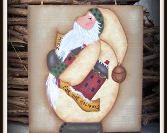 Primitive Folk Art Santa Wood Shelf Sitter Home Decor Holiday Decoration