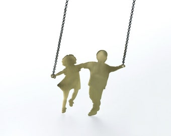 Girl and Boy  Silhouette Necklace, Silhouette Jewelry Necklace, Large Silhouette Pendant, Minimalist Necklace, Golden Silouhette