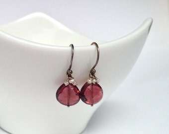 Dark Pink Tourmaline with Tiny Freshwater Pearls on Oxidized Silver Earring