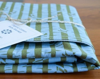 Sale, save 20%; Organic Baby Blanket in BIRCHES, Blue and Green Woodland Baby Blanket Gift, Organic Blanket by Organic Quilt Company