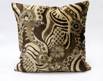 Brown Velvet Pillow Cover 18x18, upholstery fabric, pillow case, luxury designer pillow, decorative couch pillow handmade by EllaOsix
