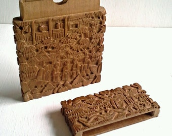 Carved Asian Card Case, Free Shipping, Business Card Case, Calling Card Holder, Chinese Sandalwood