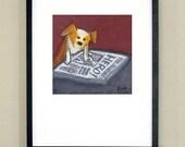 "News Hound signed print 10x10"" in 16x20"" matte"