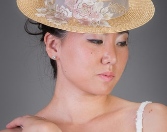 Straw Hat Pink and Gray Edwardian Boater, One of a Kind