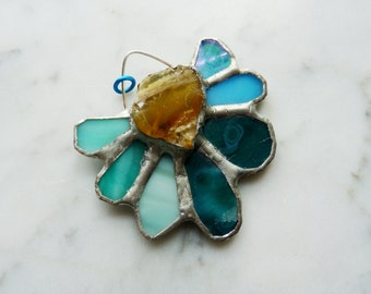 SALE - Stained Glass Pendant with Raw Opal Centerpiece - Blue Opal