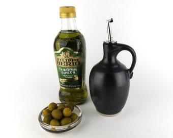 Oil Dispenser -16 oz. - Olive Oil Bottle /Cruet - Black / Handmade Wheelthrown Pottery
