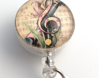 Music ID Badge - Treble Clef with Tulip, Violin & Vintage Music Paper with Badge Reel 253
