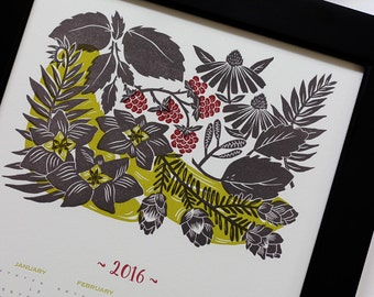 ON SALE!! 2016 Calendar, Letterpress Wall Calendar, Poster Calendar, Botanical Illustration Calendar, New Years, Year at a Glance