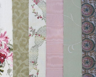 Green & Pink Fabric Pack, Collection...DESTASH SALE, Closeout Clearance...6 home design samplers, remnants,scraps, texture variety-F1617