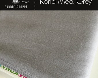 Kona cotton solid quilt fabric, Kona MEDIUM GREY 1223, Gray fabric, Solid fabric Yardage, Kaufman, Cotton fabric, Choose the cut