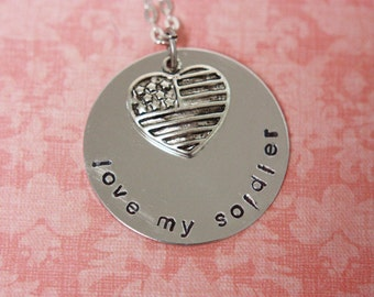 Hand Stamped Love My Soldier Necklace