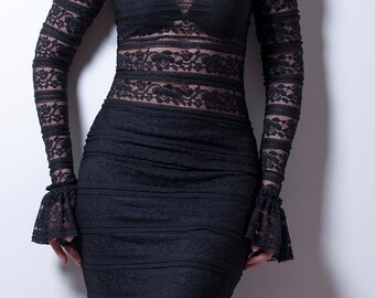 Black Lace Pencil Skirt with Ruffle-Made to order