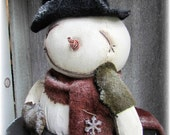 Sweeney Waiting for Frosty A Primitive Snowman Folk Art Pattern